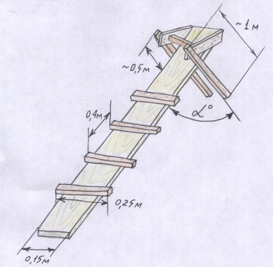 Лестница крыши своими руками фото